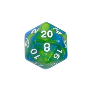 Set of 7 Blue & Green Fusion Polyhedral Dice Games and Hobbies New Zealand