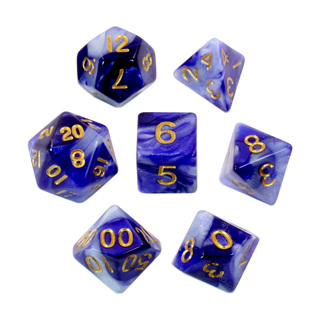 7 Blue & Pearl with Gold Fusion Dice