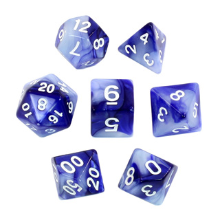 7 Blue & Pearl with White Fusion Dice