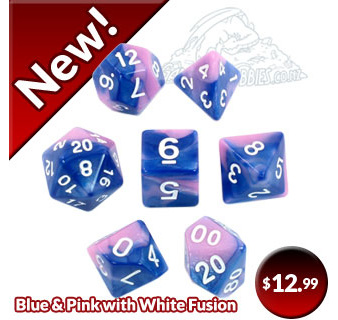 Set of 7 Blue & Pink Fusion Polyhedral Dice Games and Hobbies New Zealand