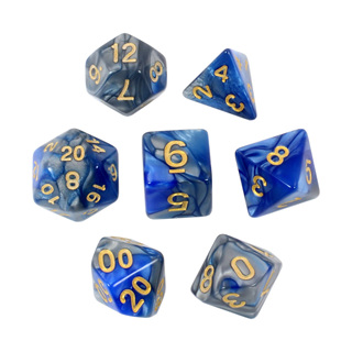7 Blue & Steel with Gold Fusion Dice