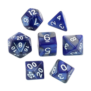 7 Blue & Steel with White Fusion Dice