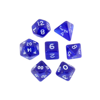 7 Blue with White Translucent Mini Dice