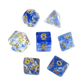 7 Blue with Gold Vapour Dice