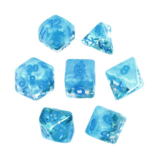 7 Blue Water Drop Confetti Dice