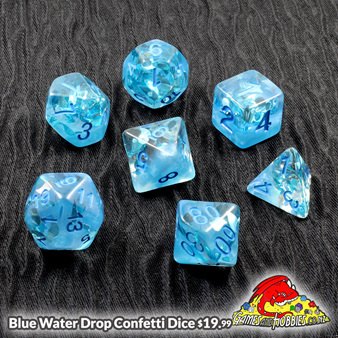 Set of 7 Blue Water Drop Confetti Polyhedral Dice Games and Hobbies NZ