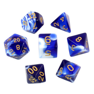 7 Blue & White Fusion Polyhedral Dice with Gold Numbers