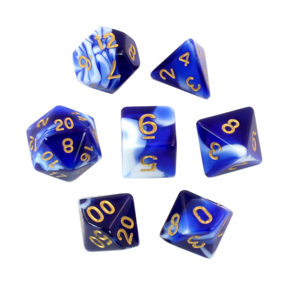 Set of 7 Blue & White Fusion Polyhedral Dice Games and Hobbies New Zealand