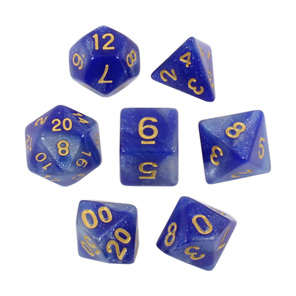 Set of 7 Blue with Gold Starlight Polyhedral Dice Games and Hobbies NZ
