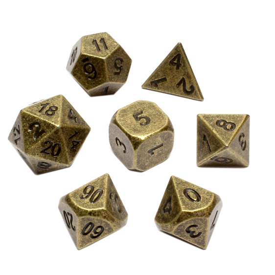 Set of 7 Brass Metal Polyhedral Dice Games and Hobbies New Zealand NZ
