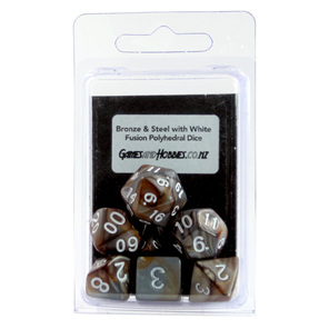 Set of 7 Bronze & Steel Fusion Polyhedral Dice Games and Hobbies New Zealand
