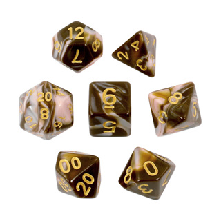 7 Brown & Pink with Gold Fusion Dice