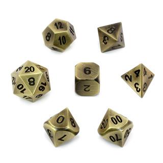 7 'Brushed Brass' Metal Polyhedral Dice