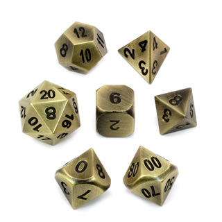 7 'Brushed Brass' Classic Metal Dice