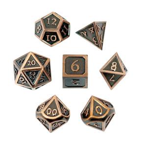 Set of 7 Brushed Copper Vintage Metal Polyhedral Dice Games and Hobbies NZ