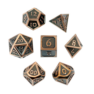 7 'Brushed Copper' Vintage Metal Dice