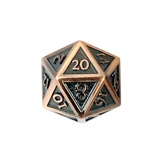 Set of 7 Brushed Copper Vintage Metal Polyhedral Dice Games and Hobbies NZ