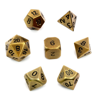 7 'Brushed Gold' Metal Polyhedral Dice