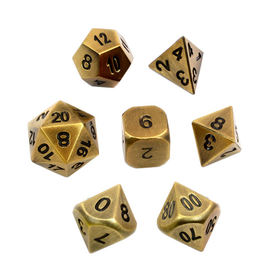 Set of 7 Brushed Gold Metal Polyhedral Dice Games and Hobbies New Zealand NZ