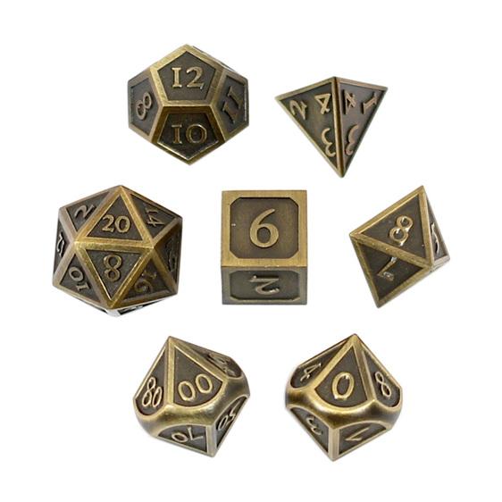 Set of 7 Brushed Gold Vintage Metal Polyhedral Dice Games and Hobbies NZ