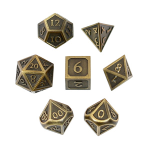Set of 7 Brushed Gold Vintage Metal Polyhedral Dice Games and Hobbies NZ