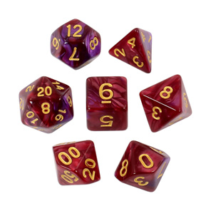 Set of 7 Burgundy & Purple Fusion Polyhedral Dice Games and Hobbies New Zealand