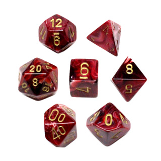7 Burgundy with Gold Vortex Dice