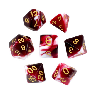 7 Burgundy & White with Gold Fusion Dice