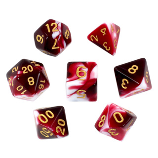 7 Burgundy & White Fusion Polyhedral Dice with Gold Numbers