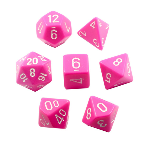 Set of 7 Chessex Pink  with White Polyhedral dice Games and Hobbies New Zealand