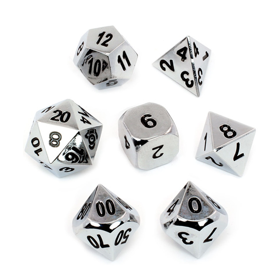 Set of 7 Chrome Metal Polyhedral Dice Games and Hobbies New Zealand NZ