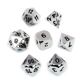 7 'Chrome' Classic Metal Dice