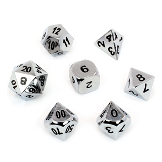 7 'Chrome' Metal Polyhedral Dice