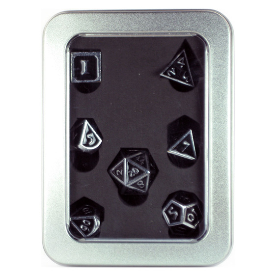 Set of 7 Chrome with Black Metal Vintage Polyhedral Dice Games and Hobbies NZ