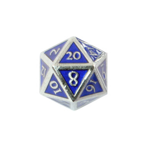 Set of 7 Chrome with Blue Vintage Metal Polyhedral Dice Games and Hobbies NZ
