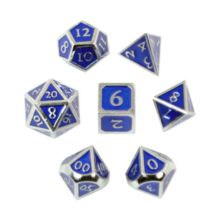 7 'Chrome' with Blue Vintage Metal Dice