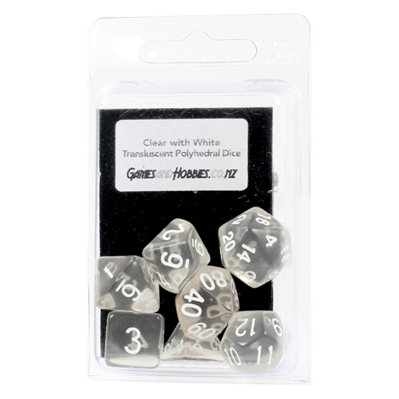 Set of 7 Clear and White Translucent Polyhedral Dice Games Hobbies New Zealand