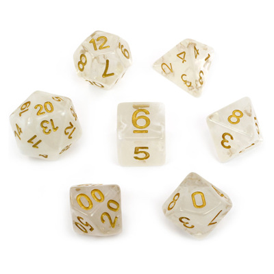 7 White Vapour Dice with Gold Numbers