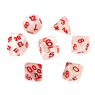 7 White Vapour Dice with Red Numbers