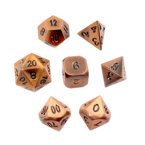 Set of 7 Copper Metal Polyhedral Dice Games and Hobbies New Zealand NZ