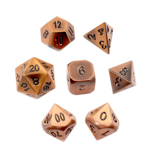 7 'Brushed Copper' Classic Metal Dice