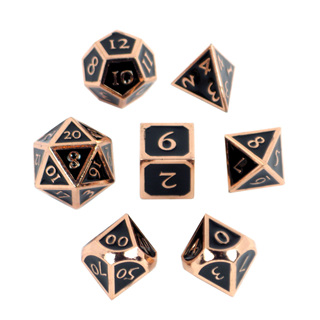 7 'Copper' with Black Vintage Metal Dice