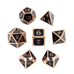 Set of 7 Copper with Black Metal Vintage Polyhedral Dice Games and Hobbies NZ