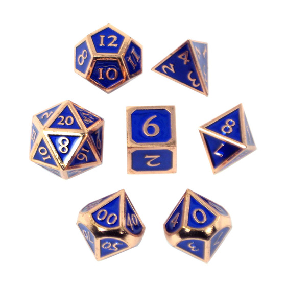Set of 7 Copper with Blue Vintage Metal Polyhedral Dice Games and Hobbies NZ