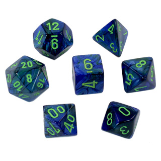 7 Dark Blue Lustrous Polyhedral Dice with Green Numbers