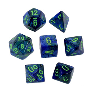 7 Dark Blue with Green Lustrous Dice