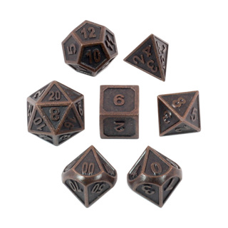 7 'Antique Bronze' Modern Metal Dice