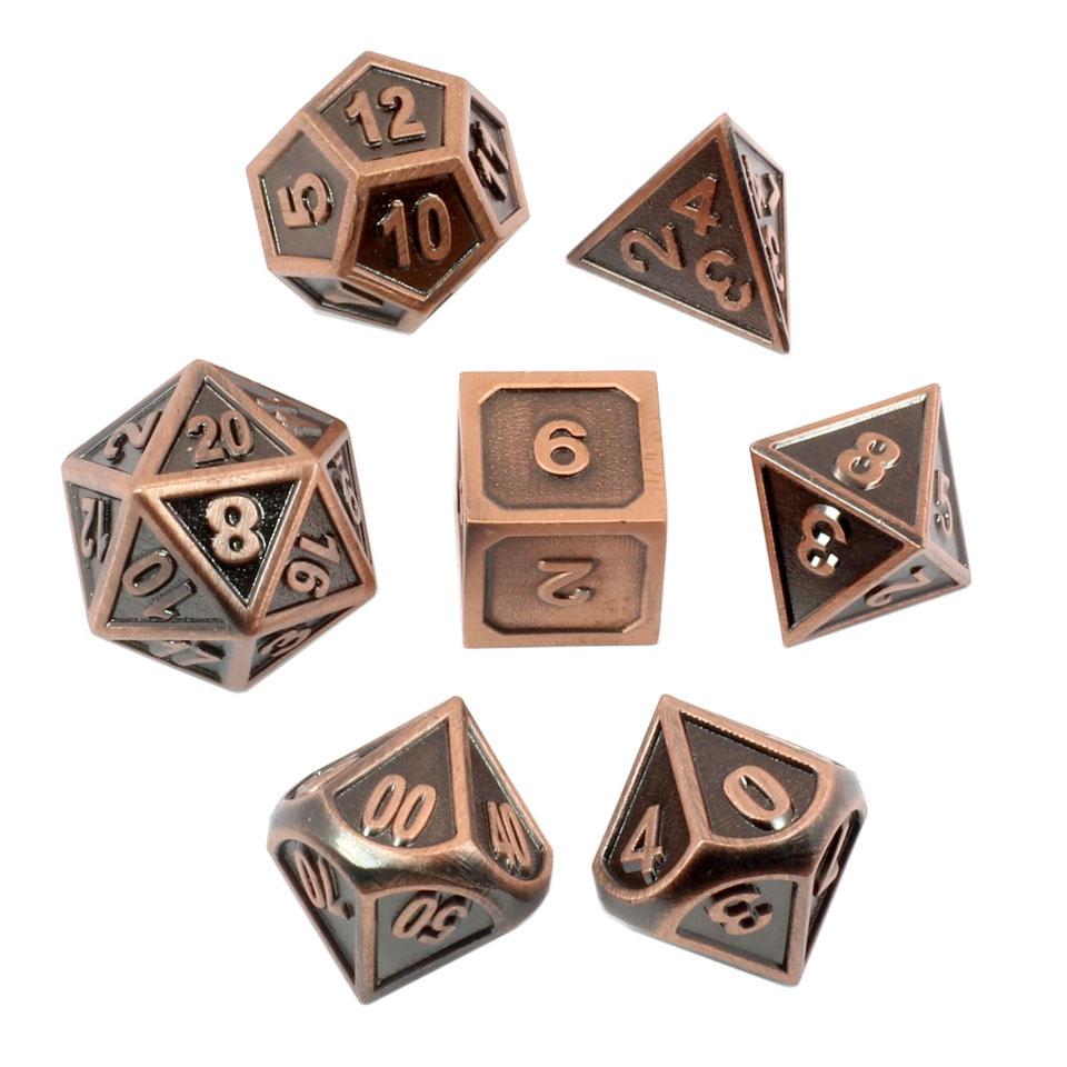 7 Brushed Copper Modern Metal Dice