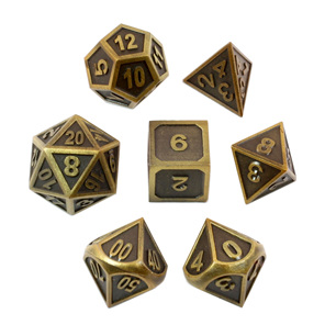 Set of 7 Embossed Brushed Gold Metal Loose Polyhedral Dice Games and Hobbies NZ