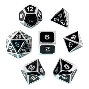 Set of 7 Embossed Chrome Metal Polyhedral Dice Games and Hobbies NZ